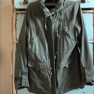 Olive Green Army Zip Up Jacket! Hipster!